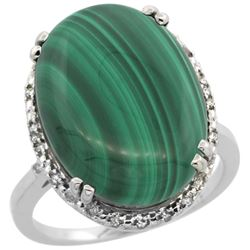 14.15 CTW Malachite & Diamond Ring 10K White Gold - REF-42F6N