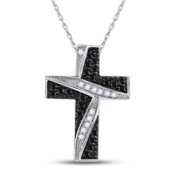 1/4 CTW Round Black Color Enhanced Diamond Cross Pendant 10kt White Gold - REF-11K9R