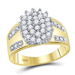 1/2 CTW Round Prong-set Diamond Oval Cluster Ring 10kt Yellow Gold - REF-27K3R