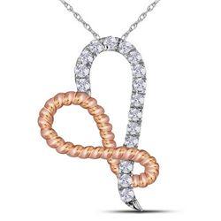 1/6 CTW Round Diamond Rose-tone Rope Infinity Heart Pendant 10kt White Gold - REF-10H8W