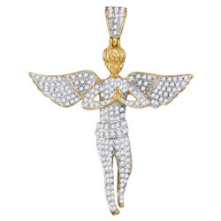 1 CTW Mens Round Diamond Angel Wings Cherub Charm Pendant 10kt Yellow Gold - REF-47H9W