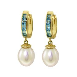 Genuine 9.3 ctw Blue Topaz & Pearl Earrings 14KT Yellow Gold - REF-44N4R