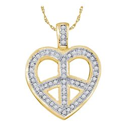 1/6 CTW Round Diamond Heart Peace Sign Pendant 10kt Yellow Gold - REF-14A4N