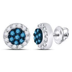 1/2 CTW Round Blue Color Enhanced Diamond Flower Cluster Earrings 10kt White Gold - REF-26A3N