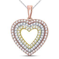 1/2 CTW Round Diamond Triple Heart Pendant 10kt Tri-Tone Gold - REF-35K9R
