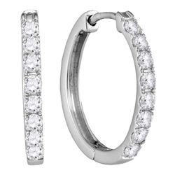 1/2 CTW Round Diamond Single Row Hoop Earrings 10kt White Gold - REF-30T3K