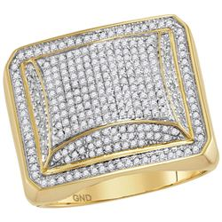 1 CTW Mens Round Diamond Domed Square Cluster Ring 10kt Yellow Gold - REF-57F5M