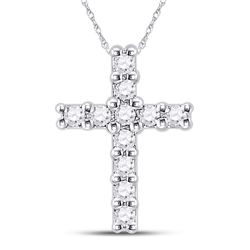 1/10 CTW Round Diamond Cross Faith Pendant 10kt White Gold - REF-5M3A