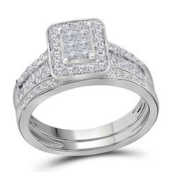 1 CTW Princess Diamond Bridal Wedding Engagement Ring 14kt White Gold - REF-83T9K