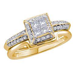 1/2 CTW Princess Diamond Bridal Wedding Engagement Ring 14kt Yellow Gold - REF-60A3N