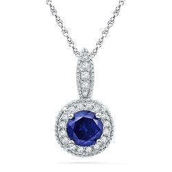 1/6 CTW Round Lab-Created Blue Sapphire Solitaire Diamond Frame Pendant 10kt White Gold - REF-14H4W