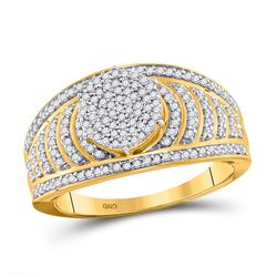 1/2 CTW Round Diamond Cluster Striped Bridal Wedding Engagement Ring 10kt Yellow Gold - REF-35K9R