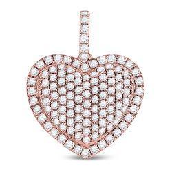 1 & 1/4 CTW Round Diamond Fashion Heart Pendant 14kt Rose Gold - REF-69W3F