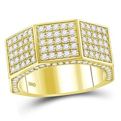 2 & 3/4 CTW Mens Round Diamond Octagon Nut Faceted Ring 14kt Yellow Gold - REF-197M9A