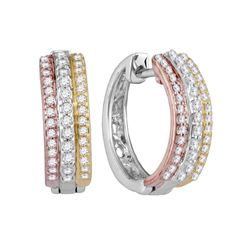 1/4 CTW Round Diamond Hoop Earrings 10kt Tri-Tone Gold - REF-27T3K