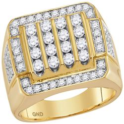 2 CTW Mens Round Diamond Square Cluster Ring 10kt Yellow Gold - REF-156A3N