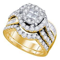 1 & 3/4 CTW Princess Round Diamond Bridal Wedding Engagement Ring 14kt Yellow Gold - REF-143R9H