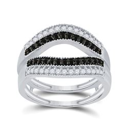 1/2 CTW Round Black Color Enhanced Diamond Wrap Ring 10kt White Gold - REF-39X6T