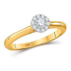 1/4 CTW Round Diamond Solitaire Bridal Wedding Engagement Ring 14kt Yellow Gold - REF-27W3F