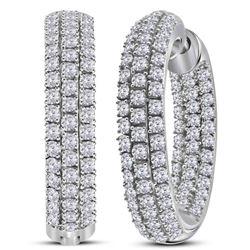 2 CTW Round Diamond Inside Outside Hoop Earrings 14kt White Gold - REF-126N3Y