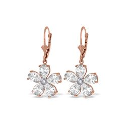 Genuine 4.43 ctw White Topaz & Diamond Earrings 14KT Rose Gold - REF-49T8A