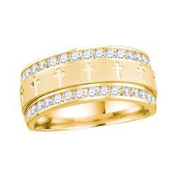 1/2 CTW Mens Round Channel-set Diamond Cross Wedding Ring 14kt Yellow Gold - REF-71H9W