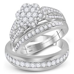 1 & 1/3 CTW His & Hers Round Diamond Cluster Matching Bridal Wedding Ring 10kt White Gold - REF-75N5