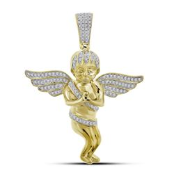 1/2 CTW Mens Round Diamond Angel Wings Cherub Charm Pendant 10kt Yellow Gold - REF-50X4T