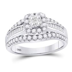 1 CTW Princess Diamond Cluster Bridal Wedding Engagement Ring 14kt White Gold - REF-90K3R