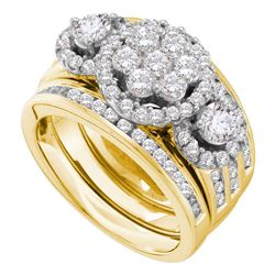 2 CTW Round Diamond 3-Piece Bridal Wedding Engagement Ring 14kt Yellow Gold - REF-215N9Y