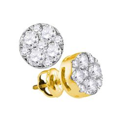 1 CTW Round Diamond Flower Cluster Earrings 14kt Yellow Gold - REF-83K9R