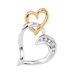 0.03 CTW Round Diamond Heart Pendant 10kt Two-tone White Yellow Gold - REF-9T6K