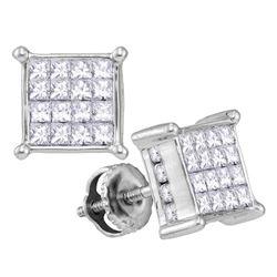 1 CTW Princess Diamond Cluster Stud Earrings 14kt White Gold - REF-60K3R