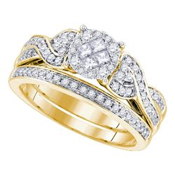 5/8 CTW Princess Round Diamond Bridal Wedding Engagement Ring 14kt Yellow Gold - REF-77N9Y