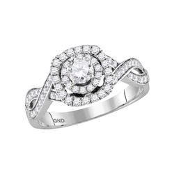 7/8 CTW Round Diamond Solitaire Bridal Wedding Engagement Ring 14kt White Gold - REF-83M9A