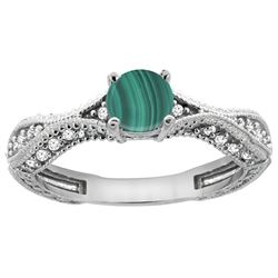 1.61 CTW Malachite & Diamond Ring 14K White Gold - REF-67W9F