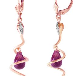 Genuine 4.56 ctw Amethyst & Diamond Earrings 14KT Rose Gold - REF-91A4K