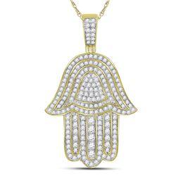 1 & 3/4 CTW Mens Round Diamond Hamsa Hand Charm Pendant 10kt Yellow Gold - REF-93W3F