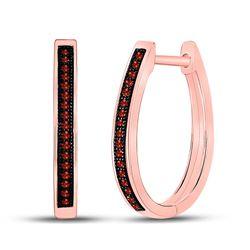 1/10 CTW Round Red Color Enhanced Diamond Single Row Hoop Earrings 10kt Rose Gold - REF-16T8K