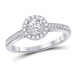 3/8 CTW Round Diamond Solitaire Bridal Wedding Engagement Ring 14kt White Gold - REF-45Y5X