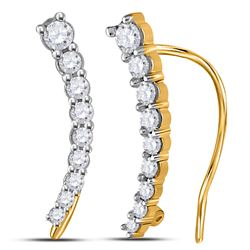 1/4 CTW Round Diamond Graduated Journey Climber Earrings 10kt Yellow Gold - REF-18W3F