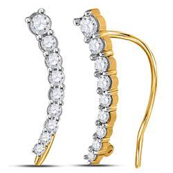 1/4 CTW Round Diamond Graduated Journey Climber Earrings 10kt Yellow Gold - REF-18W3F