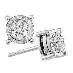 1/8 CTW Round Diamond Flower Cluster Screwback Earrings 10kt White Gold - REF-15N5Y