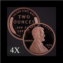2 oz Lincoln Wheat Cent .999 Fine Copper Bullion Round