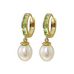 Genuine 9.3 ctw Peridot & Pearl Earrings 14KT Yellow Gold - REF-44Y4F