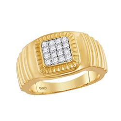 1/2 CTW Mens Round Diamond Square Cluster Ribbed Accent Ring 10kt Yellow Gold - REF-51Y5X