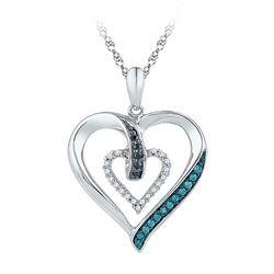 1/6 CTW Round Black Blue Color Enhanced Diamond Heart Pendant 10kt White Gold - REF-15A5N