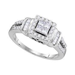 1/2 CTW Princess Diamond Halo Bridal Wedding Engagement Ring 10kt White Gold - REF-41K9R