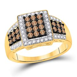 5/8 CTW Round Brown Diamond Square Cluster Ring 10kt Yellow Gold - REF-35Y9X