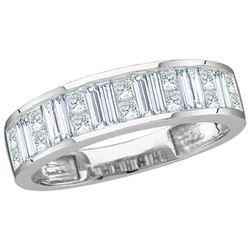 1 CTW Baguette & Princess Diamond Wedding Anniversary Ring 14kt White Gold - REF-99T6K